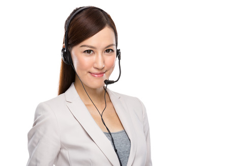 Asian Business Woman with headphone photo