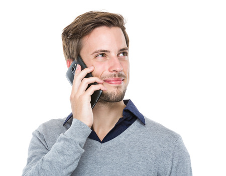 Caucasian man chat with cellphone