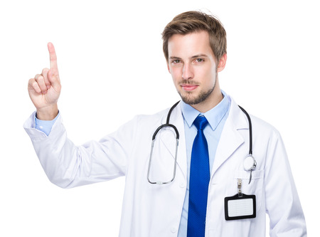 sell out: Caucasian medical doctor with finger up