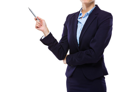 hold up: Businesswoman hold up with pen for presentation Stock Photo