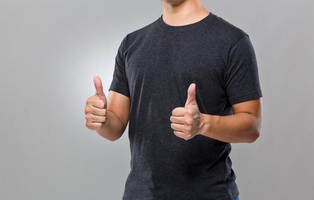 no shirt: Man with two thumb up