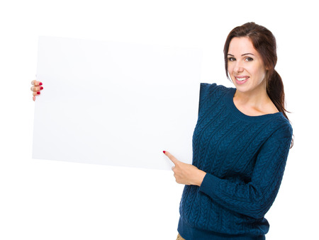 Woman hold placard photo