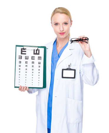 eye chart: Optician doctor with eye chart and glasses