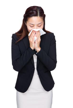 runny: Businesswoman runny nose