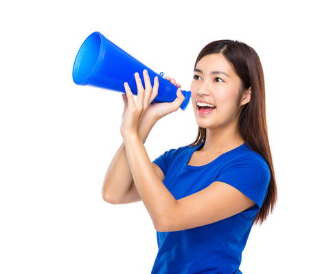 Woman shout with loudspeaker Stock Photo