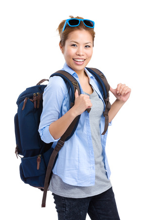 Woman with backpack photo