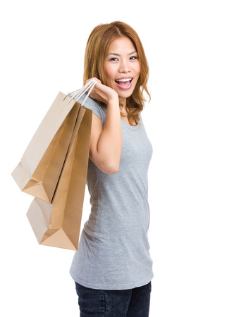 Woman hold with shopping bag photo