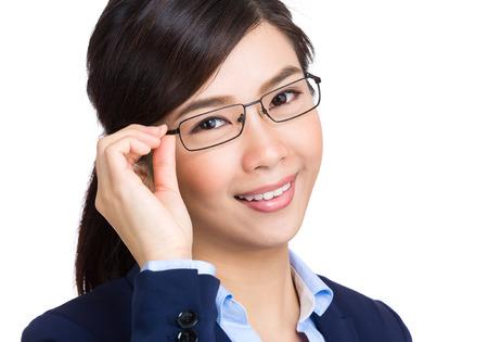 adjust: Business woman adjust glasses