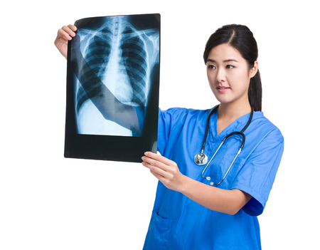 Medical doctor exam of x ray photo