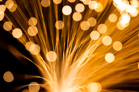 Golden fibre optic strands photo