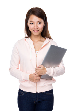 Woman with portable computer photo