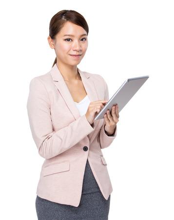 Asian businesswoman use digital tablet photo
