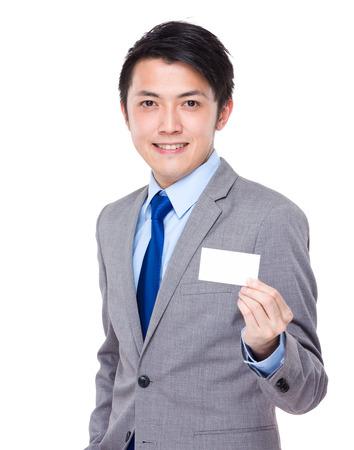 namecard: Businessman present with namecard Stock Photo