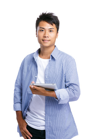 Asian man with digital tablet photo