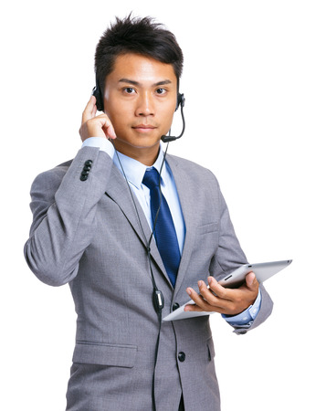 call center people in isolated: Help desk operator with tablet