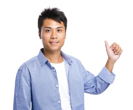 asian model: Young man thumb up