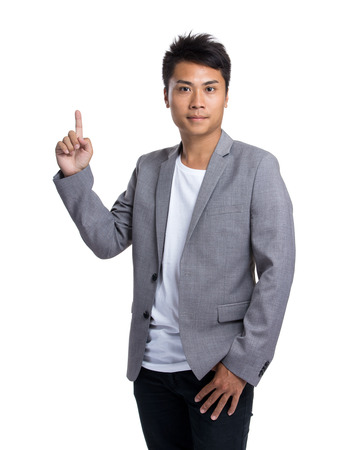 Businessman with finger up photo
