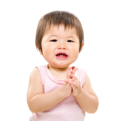 asian baby girl: Asian baby girl clapping hand