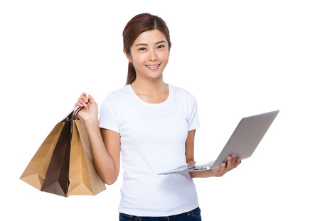 Woman online shopping concept photo