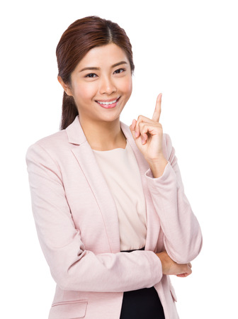chinese people: Business woman with finger point up Stock Photo