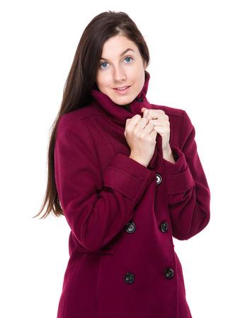 Brunette woman feeling cold photo