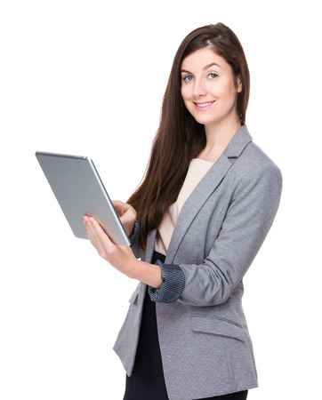 Businesswoman use of tablet photo