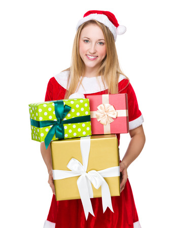 Christmas woman with lots of gift box photo