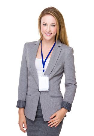 name badge: Business woman portrait