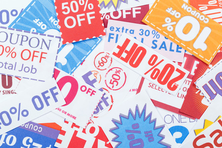Colorful clipped multi valued grocery coupons photo