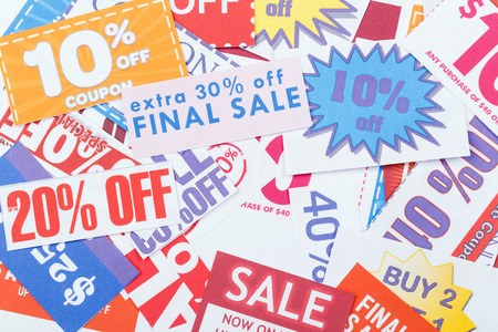 valued: Colorful clipped multi valued grocery coupons