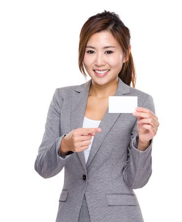 namecard: Businesswoman finger point to namecard Stock Photo