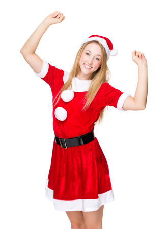 excite: Excite woman with Christmas dress Stock Photo