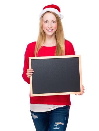 Christmas woman hold with blackboard photo