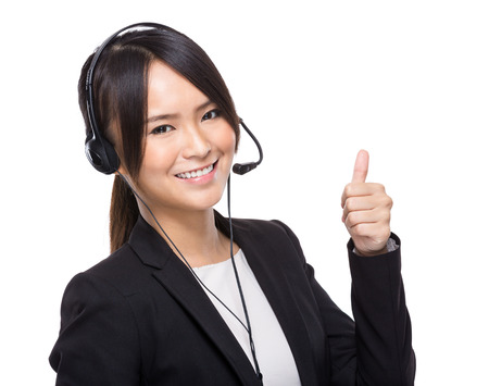 Customer service operator with thumb up photo