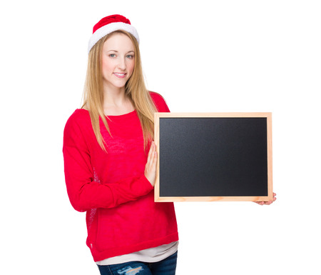 Christmas woman hold with chalkboard photo