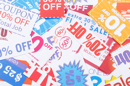 Group of discount coupon Stock Photo
