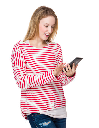 Woman looking at mobile phone photo