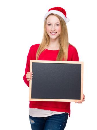 Xmas woman hold with blackboard photo