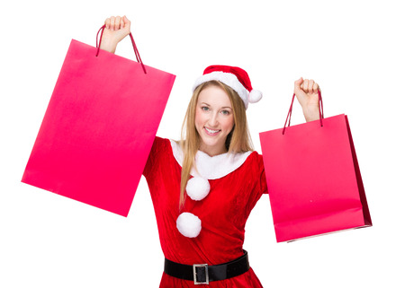 excite: Excite christmas woman raise up shopping bag