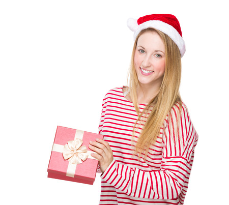 Woman open with red gift box photo
