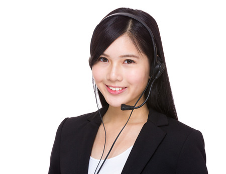 call center people in isolated: Asian call center operator