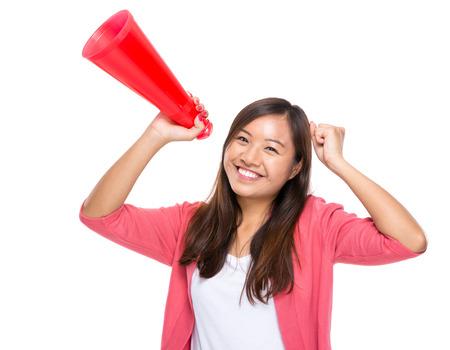 excite: Excite woman happy with megaphone Stock Photo