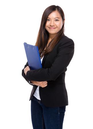 singaporean: Singaporean business woman with clipboard
