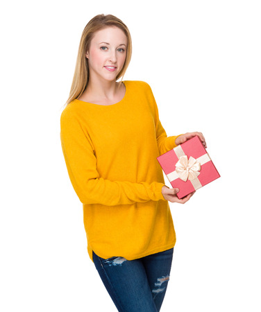 Caucasian woman with red gift box photo