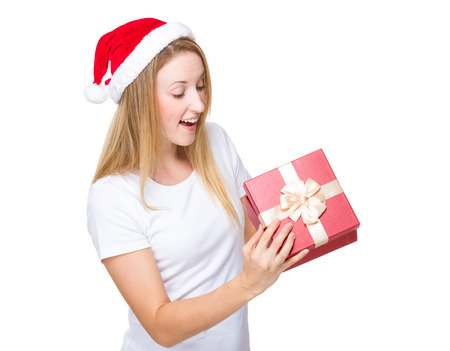 Christmas woman open with red present box photo