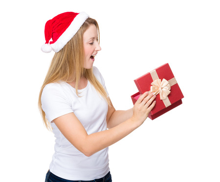 Xmas woman open with red present box photo