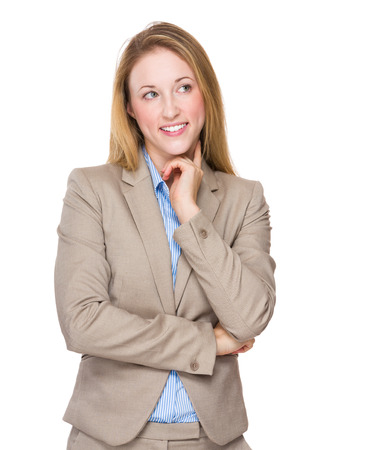 aside: Businesswoman think of idea