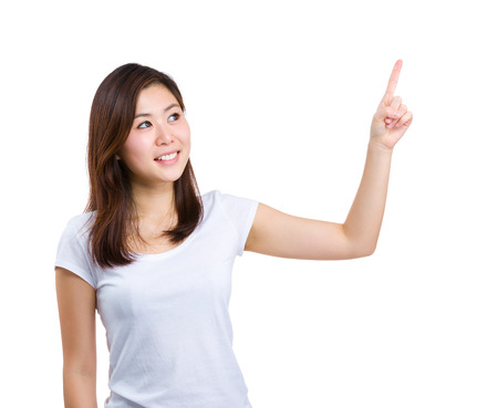 forefinger: Woman pointing up with forefinger Stock Photo