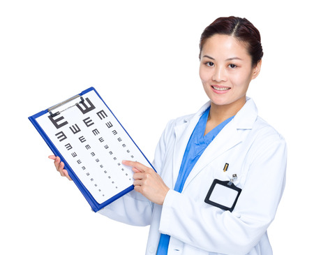 Optical doctor hold with eye chart photo