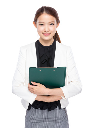 real esate: Business woman with clipboard